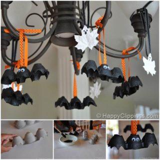Wonderful DIY Halloween Egg Caton Bats and Leaf Ghosts