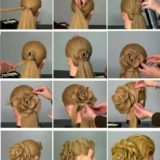 Wonderful DIY 3D Rose Flower Shaped Updo Hairstyle