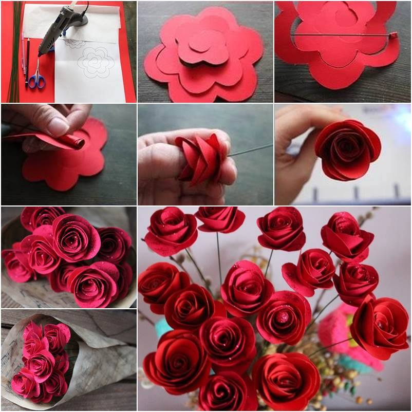 How To Make A Book Cover With Construction Paper ~ Beautiful diy red paper roses