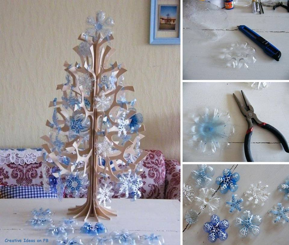 DIY Snowflakes from a Plastic Bottle Wonderful DIY Beautiful Snowflake Ornaments from Plastic Bottles