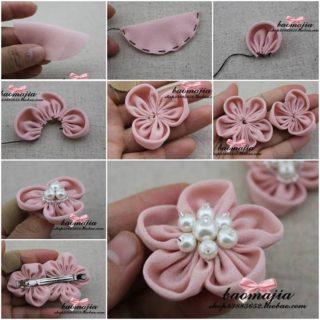 Wonderful DIY Pretty Flower Hairclip With Pearls