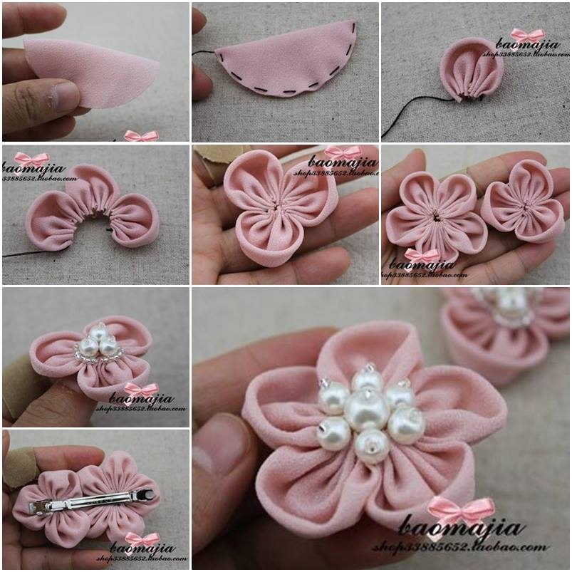 Flower Hair Clip Wonderful DIY Pretty Flower Hairclip With Pearls