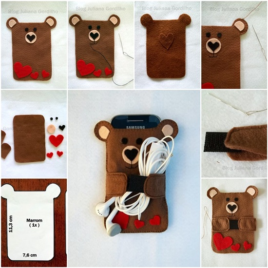 Handmade felt cell phone case 00 Wonderful DIY  Teddy Bear Cellphone Case