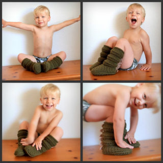 Wonderful DIY Crochet Cozy Boots with Dragon Scales For Kids