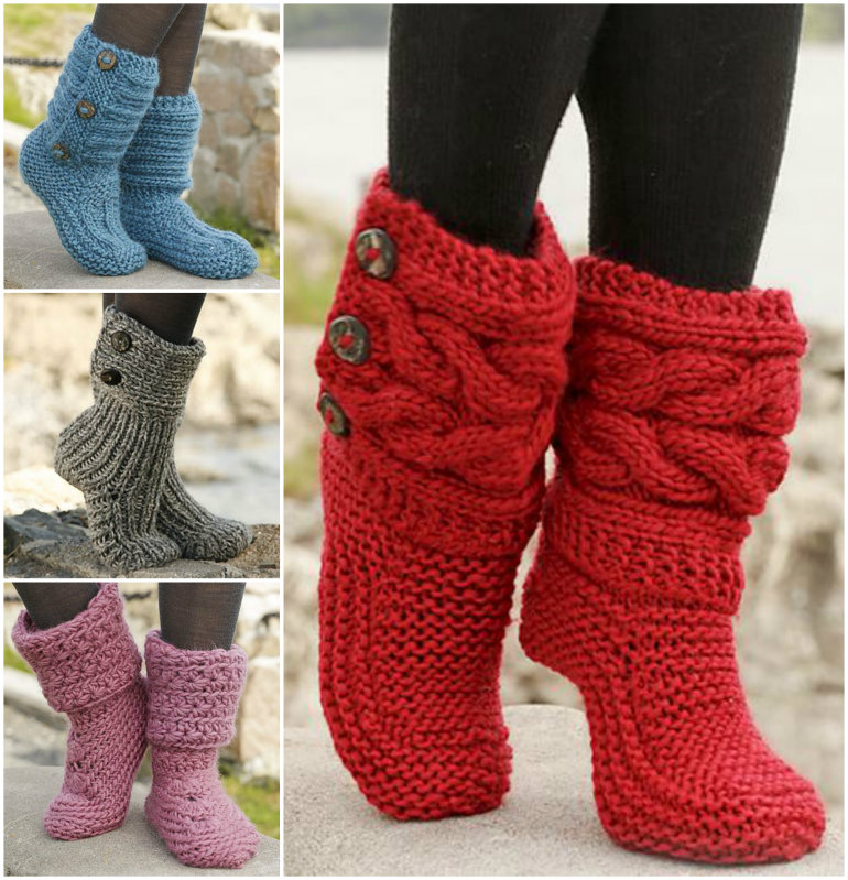 Knitted and Crochet Slipper Boots  Free Knitted & Crochet Slipper Boots Patterns