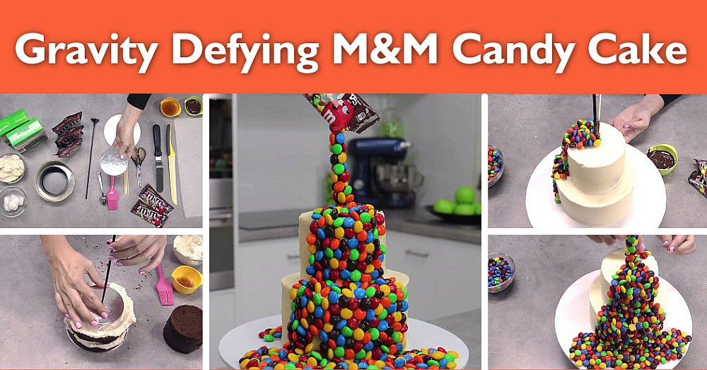 MM cake Gravity Defying M&M Candy Cake   So Easy, So Impressive