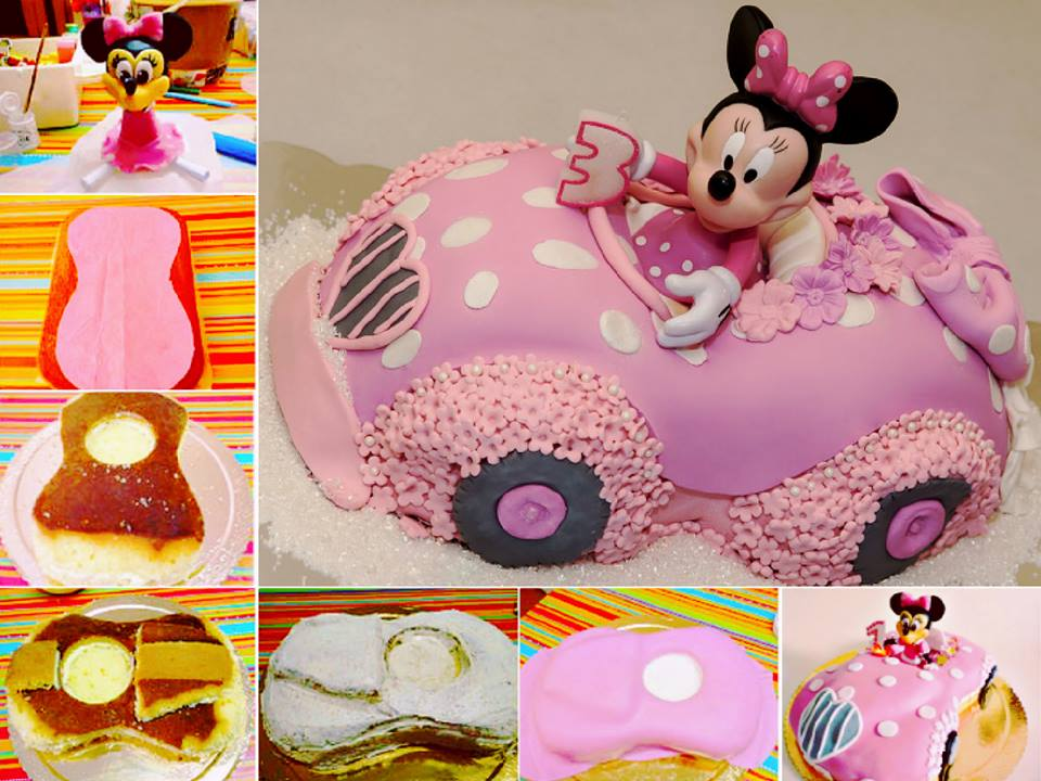 Super Minnie Car Cake For Magnificent Birthday Parties Funny Birthday Cards Online Alyptdamsfinfo