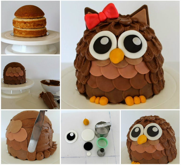 Easy To Make Owl Birthday Cake