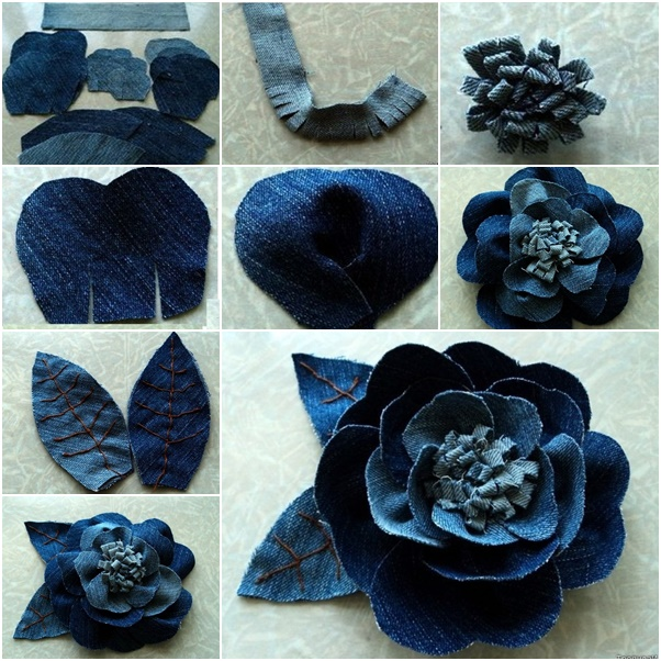 Rose flower from old Jeans Wonderful DIY Beautiful Rose flower Out of Jeans