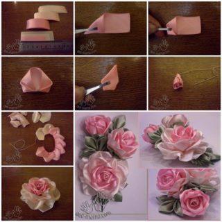 DIY Pretty Satin Ribbon Roses – Free Tutorial