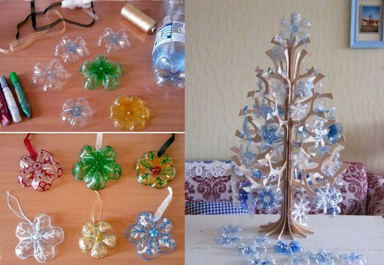 Snowflake Ornaments from Plastic Bottles DIY Wonderful DIY Beautiful Snowflake Ornaments from Plastic Bottles