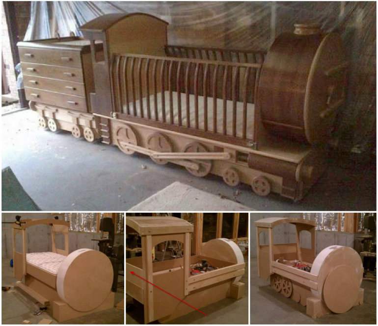 Train-crib bed diy F