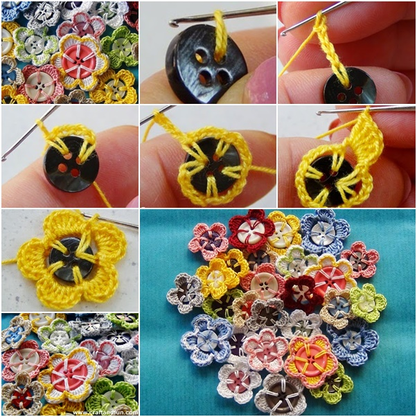 crochet button flower1 Simple Yet Stunning Crochet Button Flowers