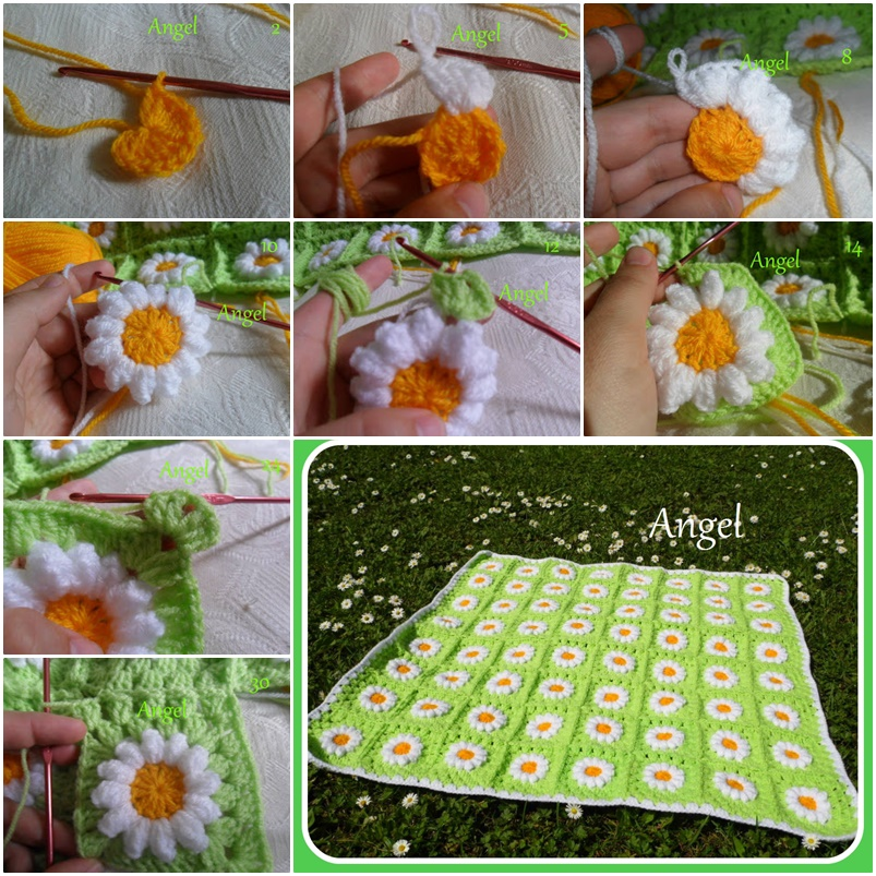 crochet daisies flower blanket F Wonderful DIY Crochet Daisy Flower Blanket For Baby