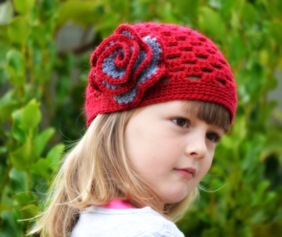 crochet hat1 Wonderful DIY Pretty Crochet  Girls Hats