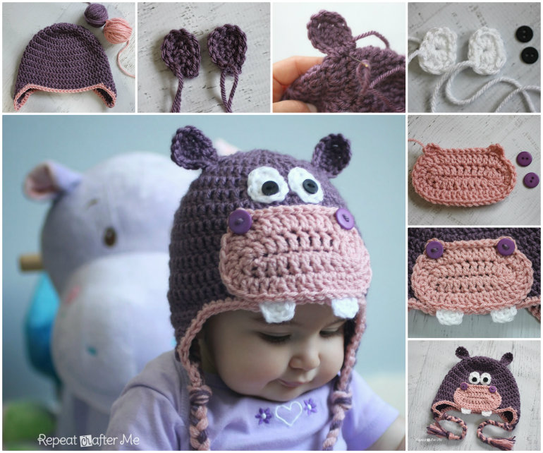 crochet hippo hat  Wonderful DIY Happy Crochet Hippo Hat