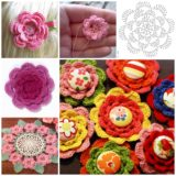 Wonderful DIY Crochet Irish Rose Button Flowers