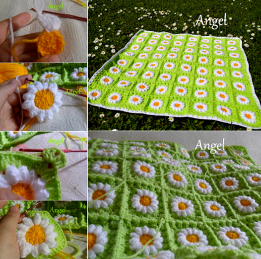 crocht daisy blanket Wonderful DIY Crochet Daisy Flower Blanket For Baby