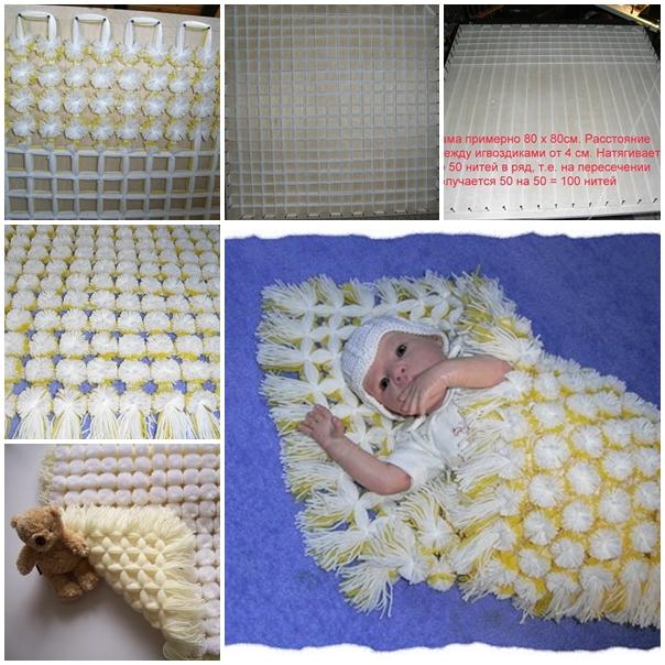 diy baby pom pom blanket F  Wonderful DIY Cozy Baby Pom Pom Blanket