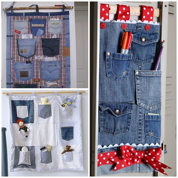 jeans pocket organizer F Wonderful DIY Hanging Jeans Pocket Organizer