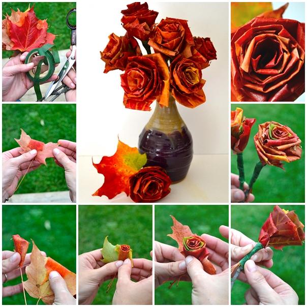 leaf rose diy