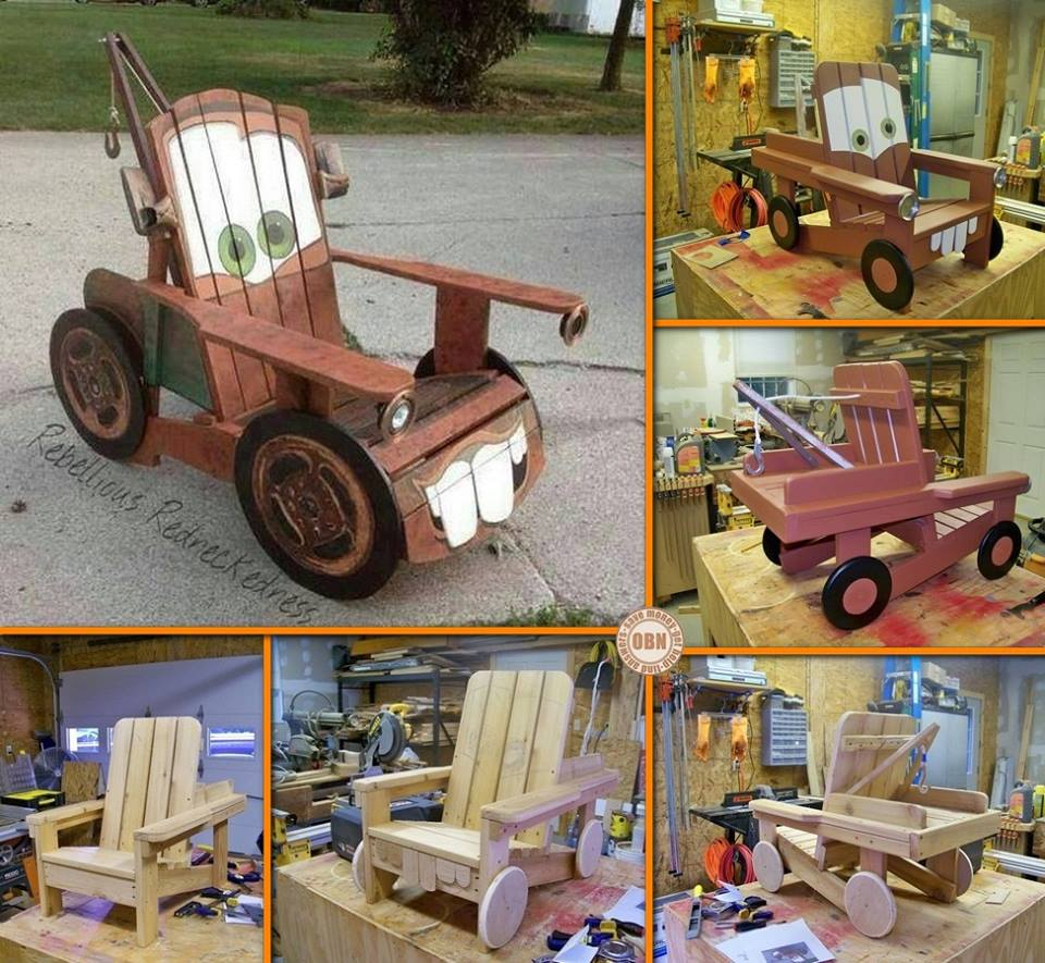 "mater chair Wonderful DIY Cool ""Tow Mater"" Adirondack Chair"