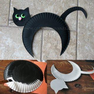 Wonderful DIY Halloween Paper Plate Black Cat