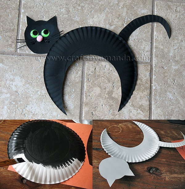 black cat paper craft wonderful diy paper plate black cat 3458