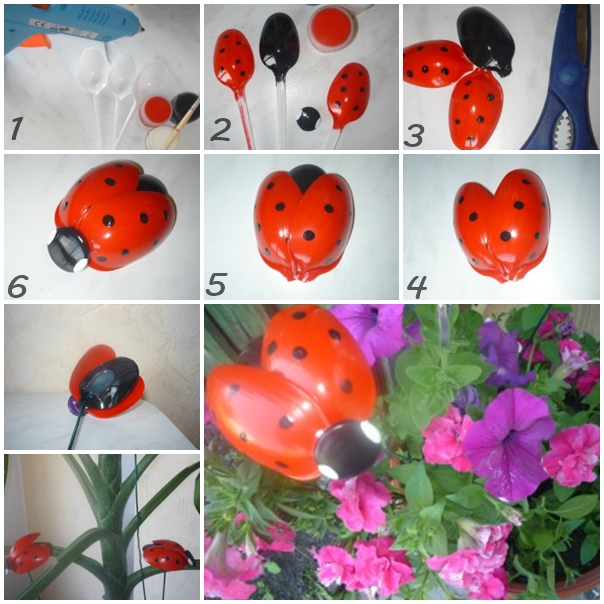 plastic spoon ladybug F Wonderful DIY Cute Plastic Spoon Ladybug