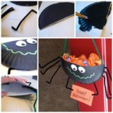 Wonderful DIY Halloween Spider Candy Holder From Paper Plate