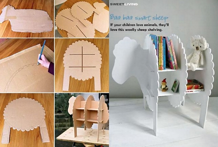 Wonderful diy smart sheep bookshelf for kids for Cardboard sheep template