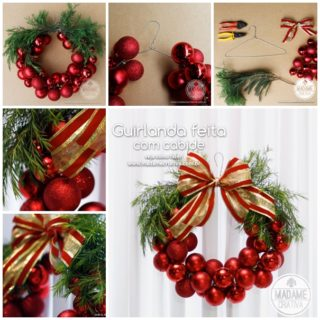 Wonderful DIY Christmas Bauble Wreath With Metal Hanger