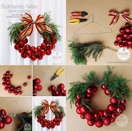 Christmas Bauble Wreath with wire hanger Wonderful DIY Christmas Bauble Wreath With Metal Hanger