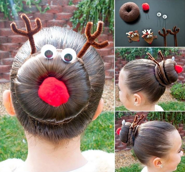 Christmas Hair Rudolph Bun 21 11 Wonderful and Cute Christmas Hairstyles