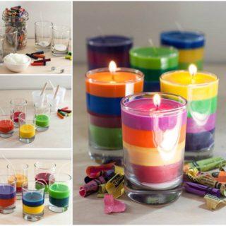 Wonderful DIY Rainbow Crayon Candles