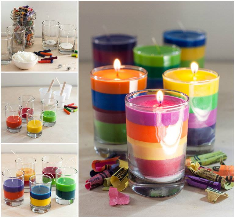 Crayon Candles Wonderful DIY Rainbow Crayon Candles
