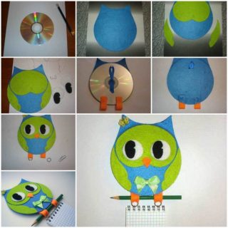 Wonderful DIY Cute Hanging Owl Notebook From CD