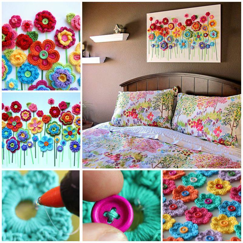 Crochet Button Floral fantasy