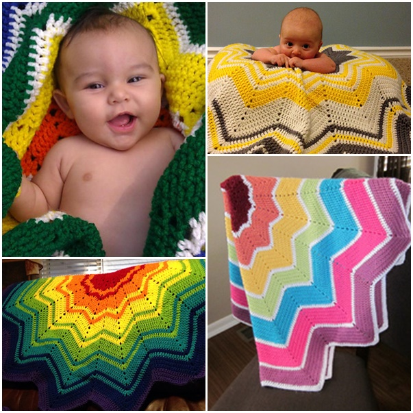 Crochet Rainbow Ripple Baby Blanket-- wonderfuldiy