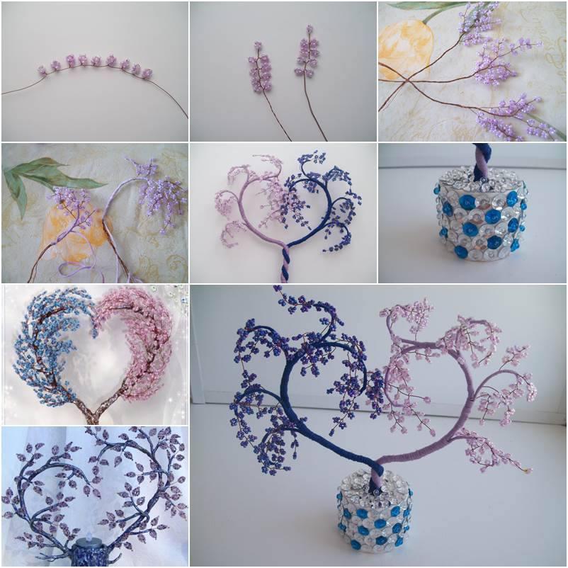 DIY Beads Heart Decorative Tree wonderfuldiy Wonderful DIY Pretty Beads Butterfly