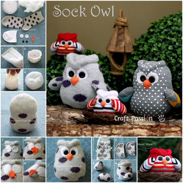 DIY Sock Owls  Wonderful DIY Snowy Owl Ornaments from Paper Rolls