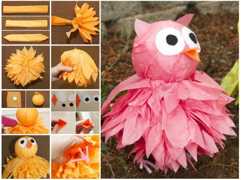 DIY Tissue Pom Pom Owls  Wonderful DIY Cute  Pom Pom Owls with Tissue Paper