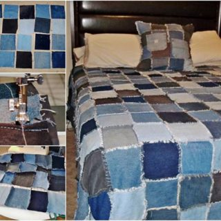 Wonderful DIY Denim Rag Quilt From Old Jeans