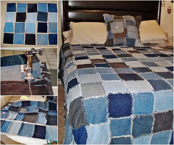 Denim Rag Quilt diy Wonderful DIY Denim Rag Quilt From Old Jeans