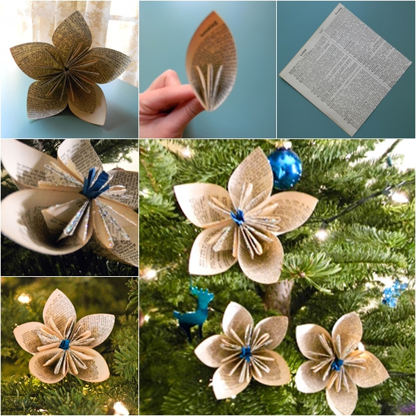 wonderful diy vintage dictionary flower ornaments - Christmas Tree Flower Decorations