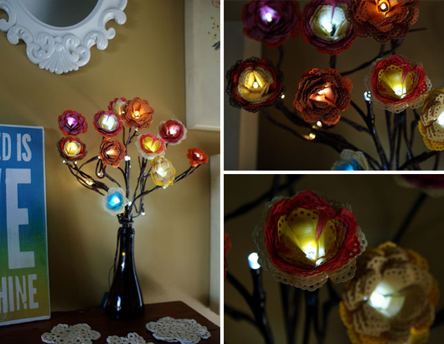 Doily Petal Lighted Flower Bouquet DIY F Wonderful DIY Lighted Flower Bouquet  with Doily Petal