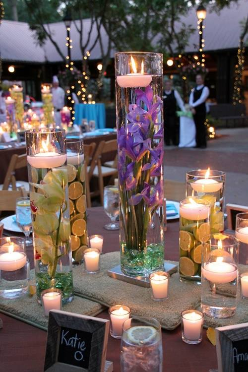 VIEW IN GALLERY Floating Candle Centerpiece With Flower1 Wodnerful DIY  Unique Floating Candle Centerpiece With Flower