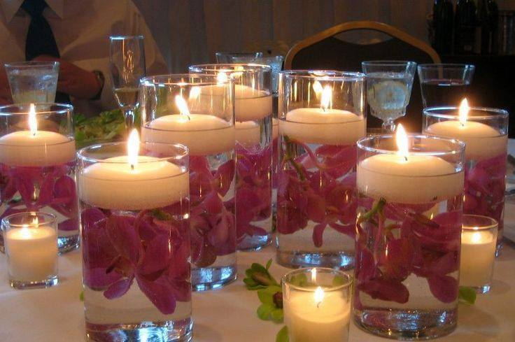 view in gallery floating candle centerpiece with flower15