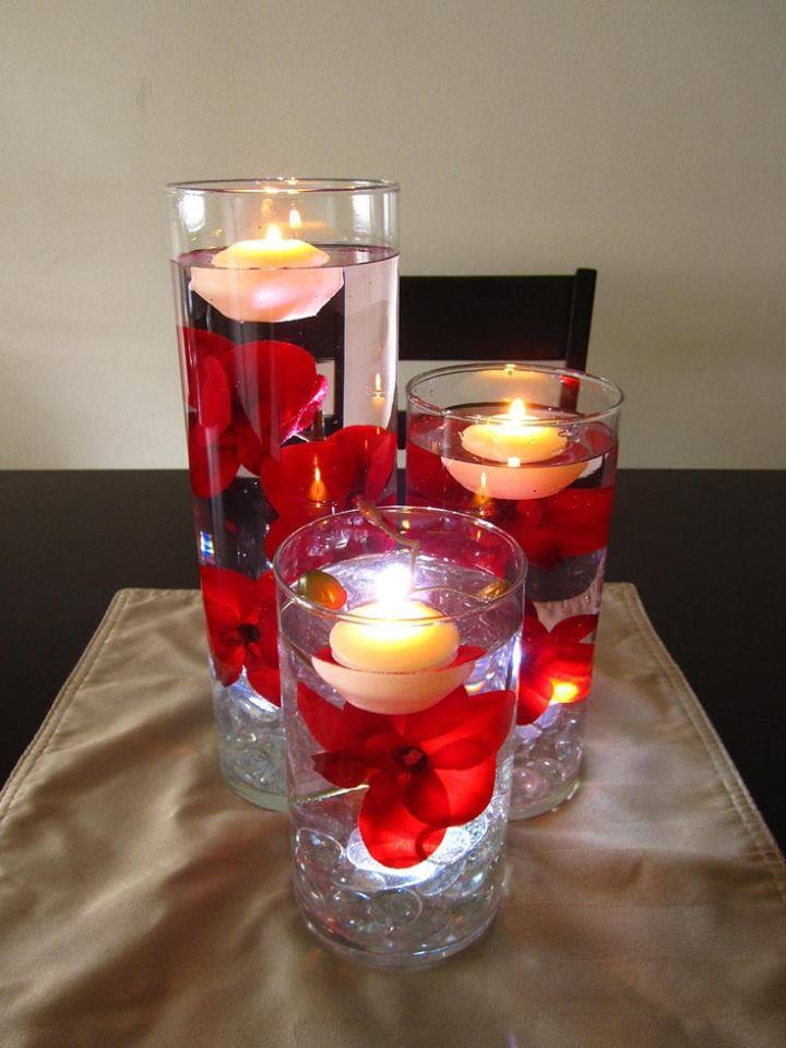 Floating Candle Centerpiece With Flower17