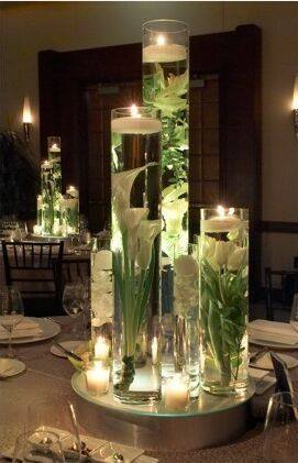 Floating Candle Centerpiece With Flower3